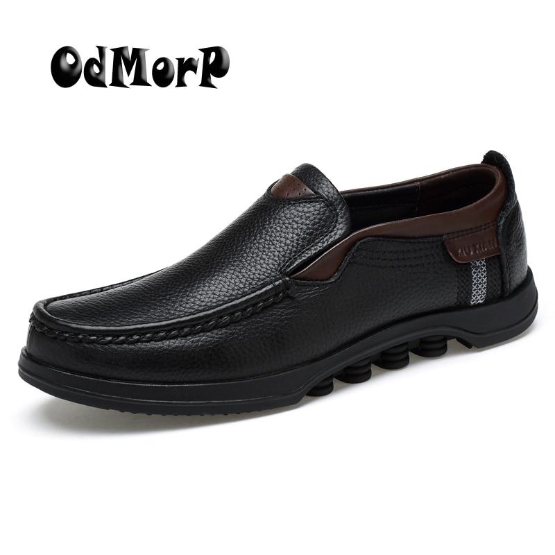 ODMORP Hommes Chaussures Richelieus En Cuir Véritable Plus La Taille 48 Slip Sur De Luxe Formelle D'affaires Décontractée En Cuir Mocassins Mocassins Chaussures Hommes
