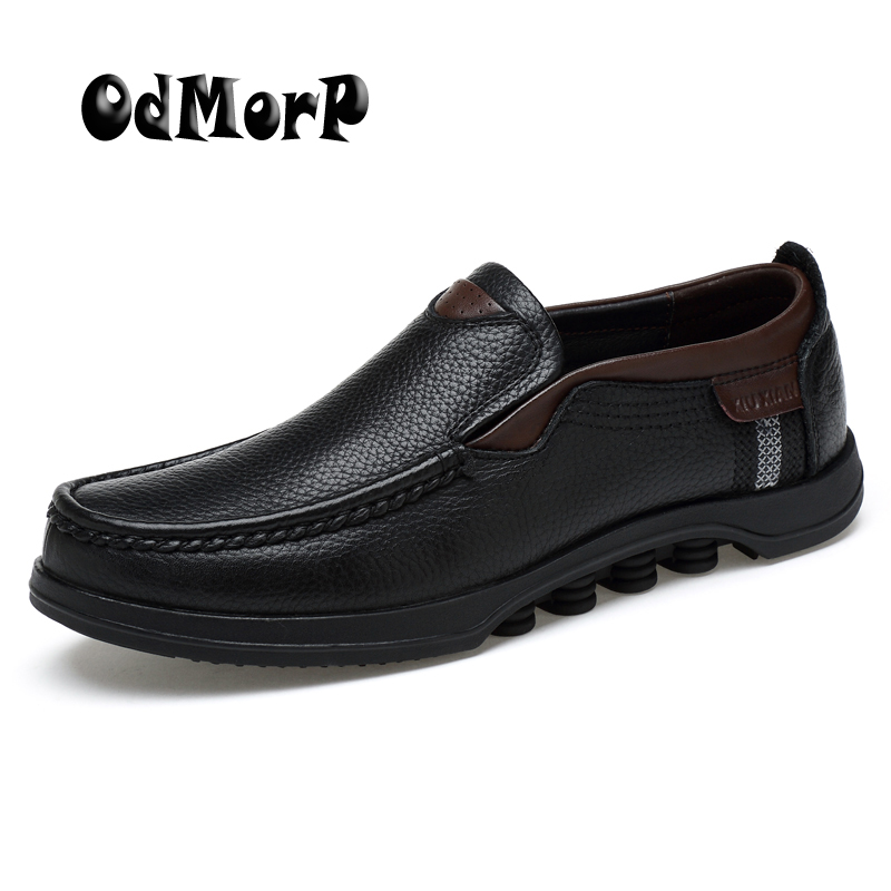 ODMORP Men Shoes Genuine Leather Oxfords Plus Size 48 Slip On Luxury Formal Business Casual Leather Loafer Moccasins Shoes Men cbjsho brand men shoes 2017 new genuine leather moccasins comfortable men loafers luxury men s flats men casual shoes