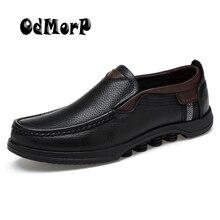 ODMORP Hombres Zapatos Oxford de Cuero Genuino Más El Tamaño 48 Zapatos Del Holgazán Mocasines Slip On de Cuero de Lujo Casual de Negocios Formal de Los Hombres