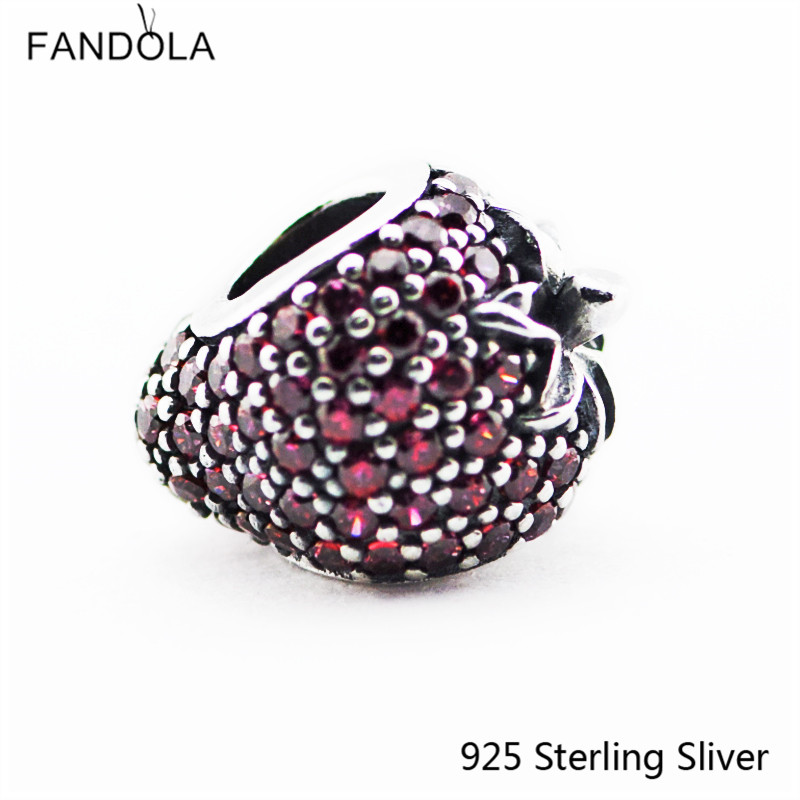 Authentic S925 Sterling Silver Jewelry Shiny Beads,Strawberry Charm Bead Fit DIY Bracelet Pendant For Women Valentines day Gift