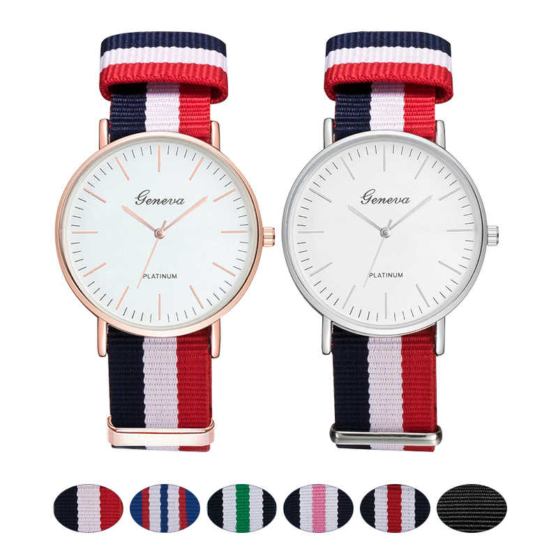 Fashion Canvas Strap Women Quartz Watch Luxury Men Nylon Buckle Watches Creative Geneva Dial Couple Sports Wristwatch relogio