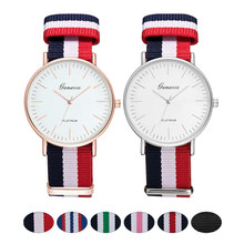 Fashion Canvas Strap Women Quartz Watch Luxury Men Nylon Buckle Watches Creative Geneva Dial Couple Sports Wristwatch relogio(China)