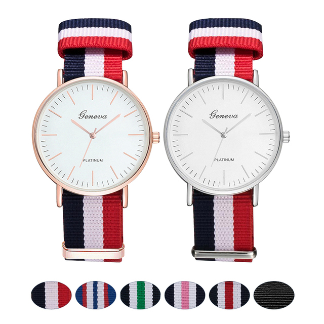 Fashion Canvas Strap Women Quartz Watch Luxury Men Nylon Buckle Watches Creative