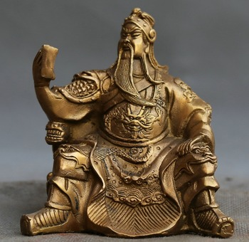 Chinese Brass Guan Gong reads the ornament statues. Free Delivery