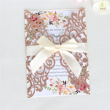 Rose gold wedding invitation card laser cutting butterfly ribbon decorated free printing ship party supply