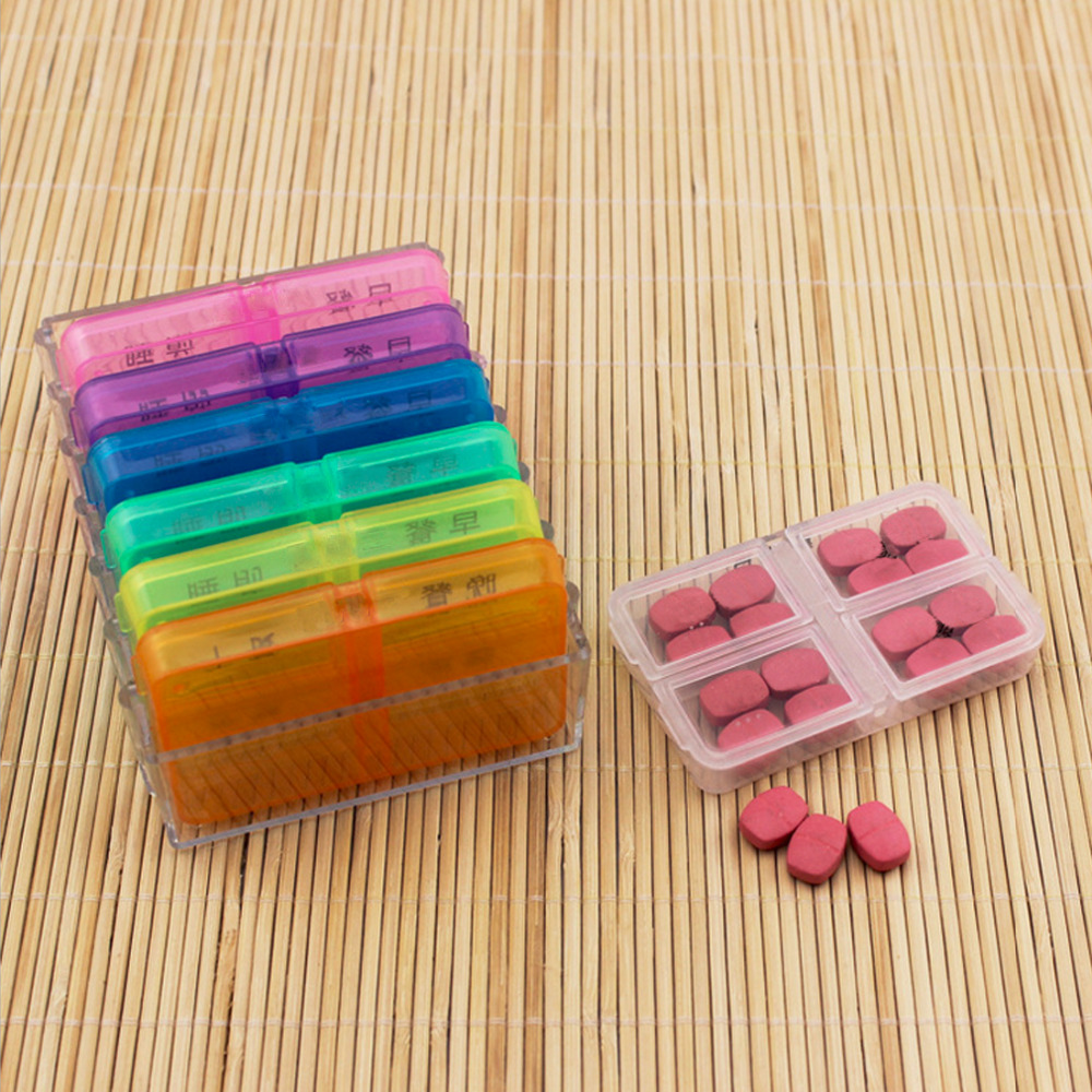 N28 Slot 7 Hari Pil Kotak Obat Tablet Sorter Kontainer Alat Pemotong Tempat Simpan 28 Medicine Mingguan Pill Box Splitters Untuk Sehat C