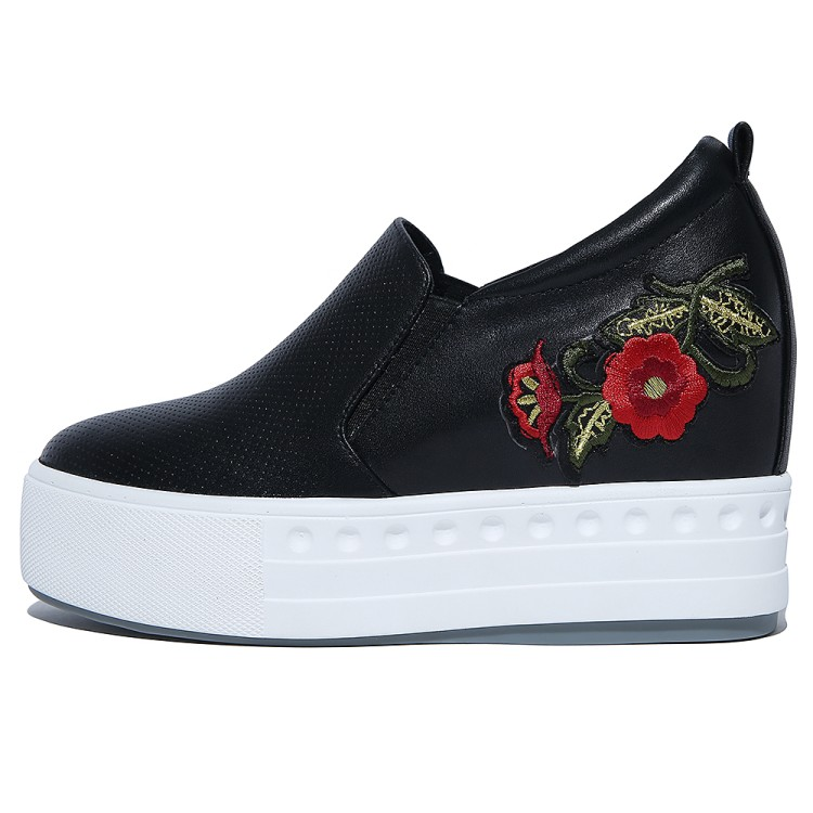 Negro Nueva Mujer on {zorssar} Plataforma Bombas Cuñas De Tacón Zapatos 2018 Flores Slip Alto Altura Las Moda Casual blanco Mujeres Aumento CqgqHw