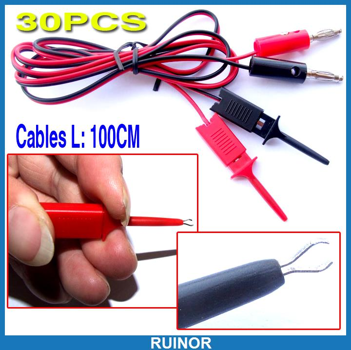 ФОТО 30pcs Probes IC PCB Test Hook Clip to Banana Plug Cable