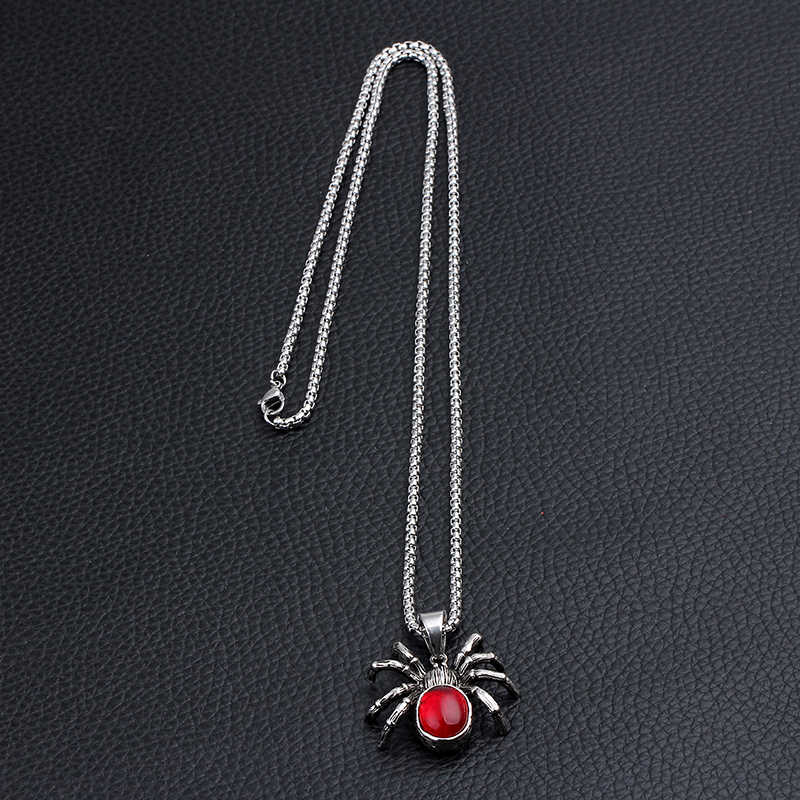 Mężczyzna Punk Vintage retro czarny pająk pająk stop cynkowy naszyjnik Gothic czerwony kamień mężczyzna Biker Goth biżuteria New Arrival