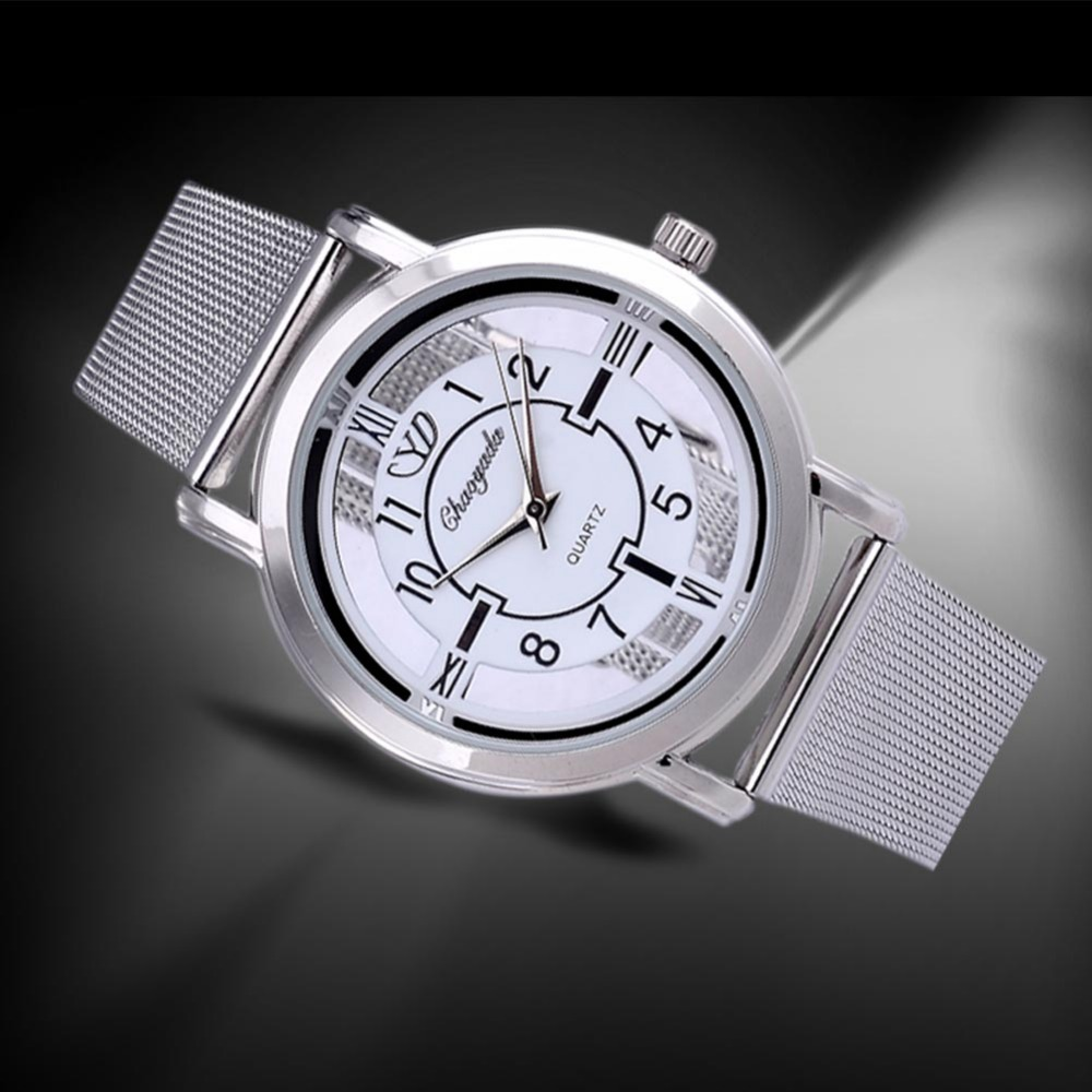 Hot Sale Luxury Brand Watch Transparent Dial Full Steel Quartz Watch Women Fashion Silver Watches Hour