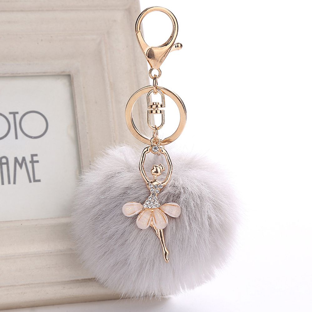 Fashion Women Bag Accessories Angel Fluffy Handbag Pendant Ballet Dancing Girl Faux Rabbit Fur Key Ring Handbags Decoration