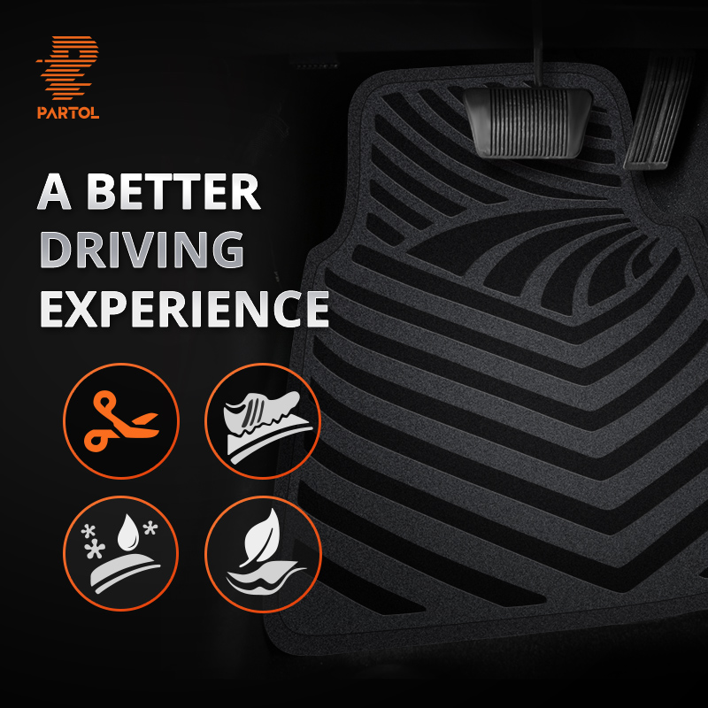 Partol Black 4Pcs Universal Car Floor Mats Anti-Slip Durable Flexible Auto Floor Mats Interior Car Styling for Fiat Lada VW Golf