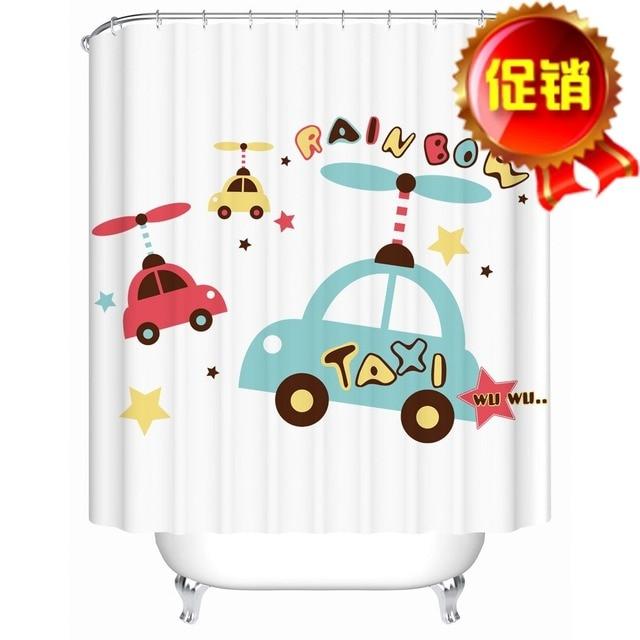 SC038 Europäischen Stil Cartoon Auto Benutzerdefinierte Bunten Stoff Modernes  Bad Wasserdicht Duschvorhang Mit Haken
