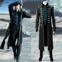 May Cry 5 Game Costume Vergil Cosplay Adult Custom Halloween Christmas Carnival Superhero Jacket Vest Pants Gloves Boots Leather