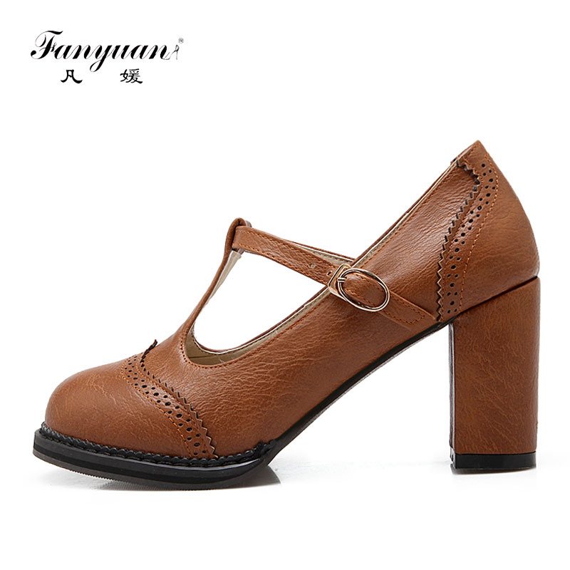 Fanyuan Women Shoes High Heel Pumps T-Strap Vintage Round Toe Ladies Shoes Woman Thick Heels Girls Prom Shoes Sapato Feminino