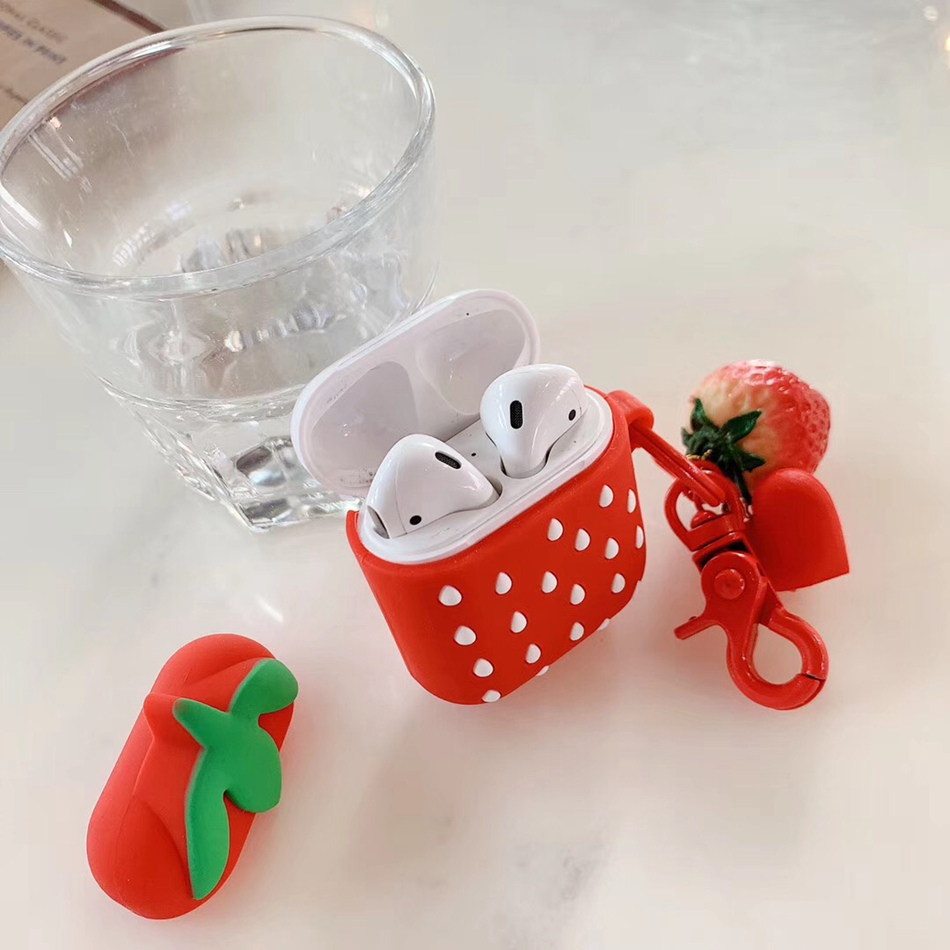 Image 5 - For AirPods Case 3D Cute Fruit Strawberry Pineapple Avocado Pizza Earphone Cases For Apple Airpods 2 Protect Cover with Pendant-in Earphone Accessories from Consumer Electronics