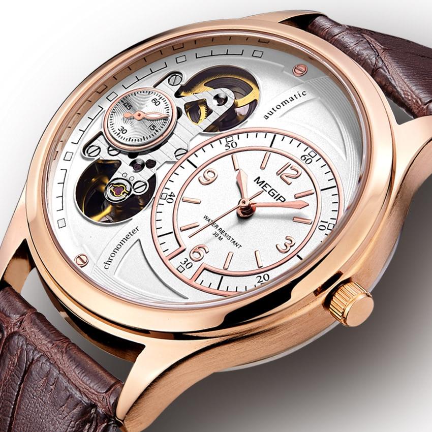 Megir Watches Automatic Watches Men Luxury Brand Quartz Clock Man LeatherAutomatic Watch Winder Tourbillon Mechanical Watch