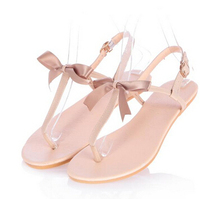 summer small fresh sweet bow flat casual thong sandals women fashion shoes