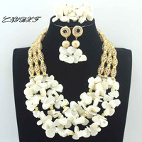Marvelous White Coral Beads Nigerian Bridal Jewelry Sets African Coral Gold Beads Wedding Necklace Jewelry Set Free Ship L0081
