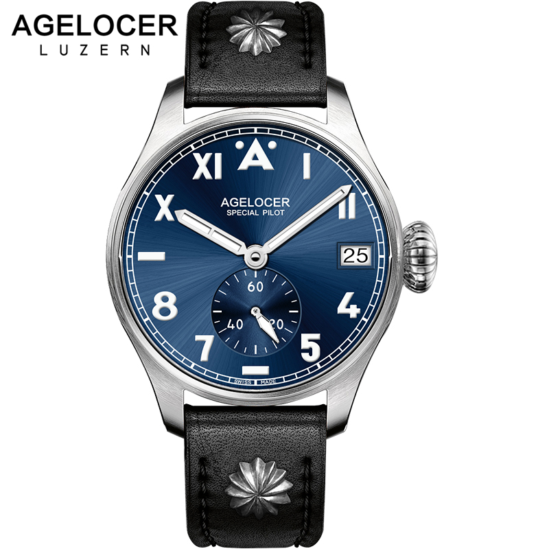 Swiss Agelocer Tritium Gas Luminous Watch Business Men's Watch Luxury Simple Men Watch Male 316L Steel Retro Military watches yelang v1015 upgrade version khaki number tritium gas green luminous men automatic mechanical business watch leather watchband