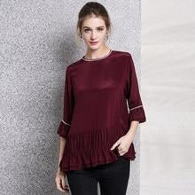 4f36735bc6d 100% шелковая блузка для женщин  большие размеры легкий ткань с круглым  вырезом оборками три четверти рукава Элегантный Стиль Но..