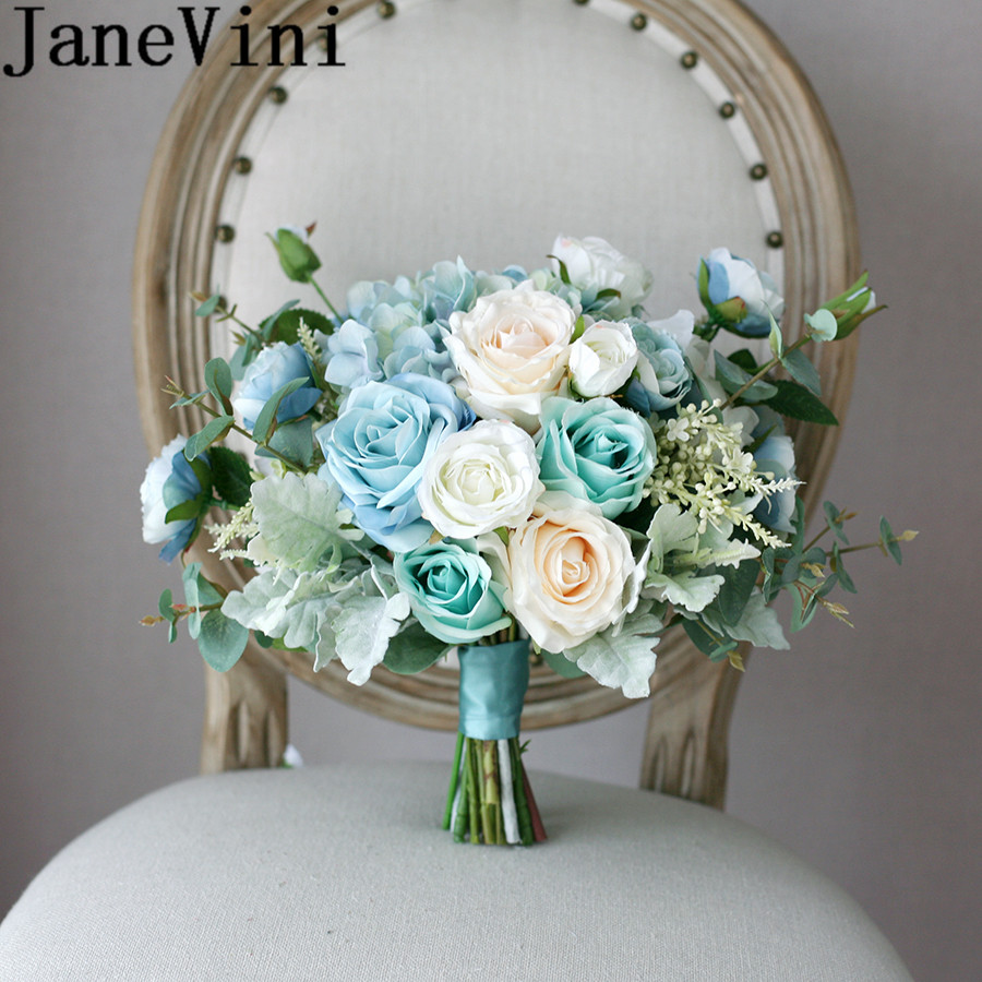 JaneVini Western Wedding Bouquet Blue Artificial Bridal Flowers Bride Bouquets White Silk Rose Bouquet Fleur Artificielle