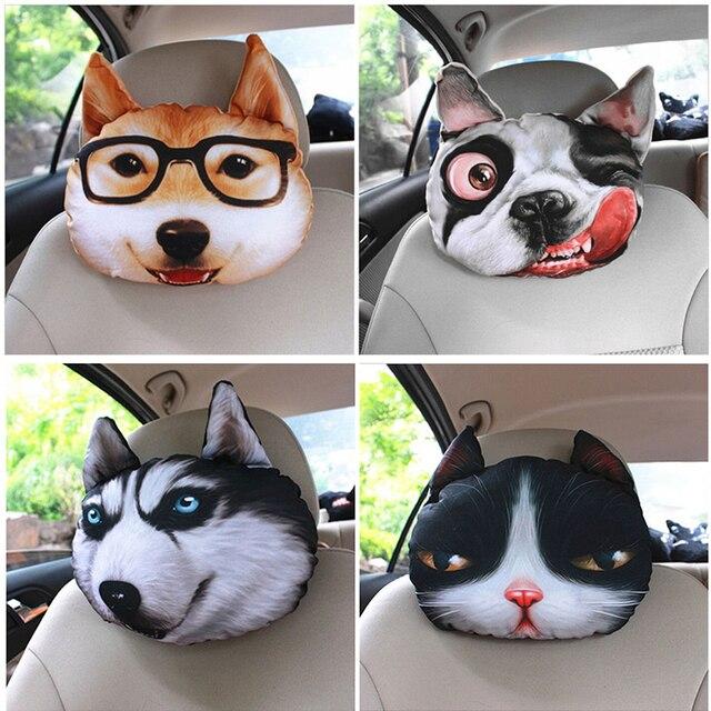 32 cm * 28 cm 3D Com Recheio Animal Cão Gato Assento de Carro Pescoço Rest Almofada Encosto de Cabeça Pillow Emoji Carbono saco de Sala de estar Sofá Travesseiro