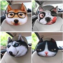 32cm*28cm 3D With Filling Animal Cat Dog Emoji Car Seat Neck Rest Cushion Headrest Pillow Carbon Bag Living Room Sofa