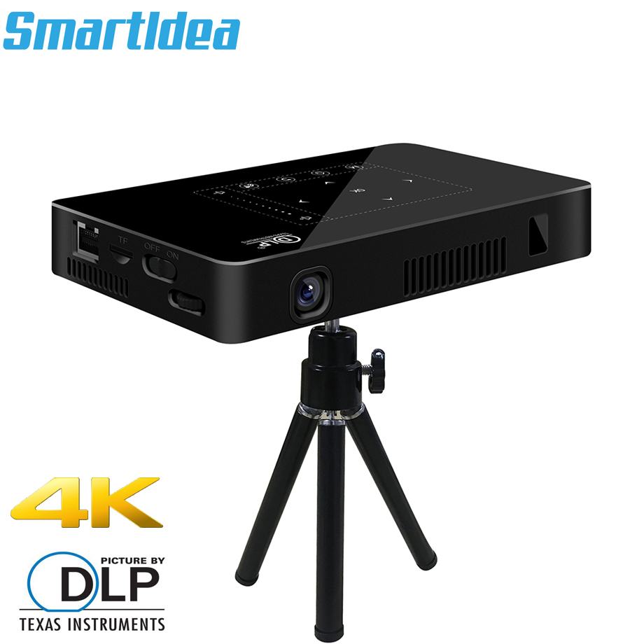 Smartldea P10 Mini Smart DLP projector mobile android wifi beamer bluetooth 4K Build-in battery touch keys Airplay Miracast DLNA mobile phone