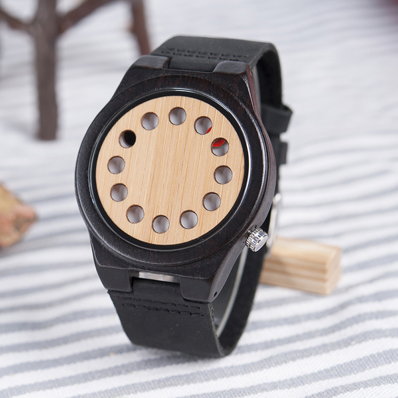 BOBO BIRD Bamboo Wooden Watches Men 12 Holes Design Quartz Analog Wrist Watch erkek kol saati with Leather Band as Gift bobo bird mens watch red sandalwood analog wooden quartz wrist watches with luxury watch famous brand in gift box free shipping
