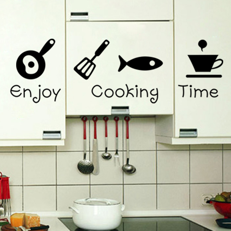 creative diy quote enjoy cooking time kitchenware wall stickers
