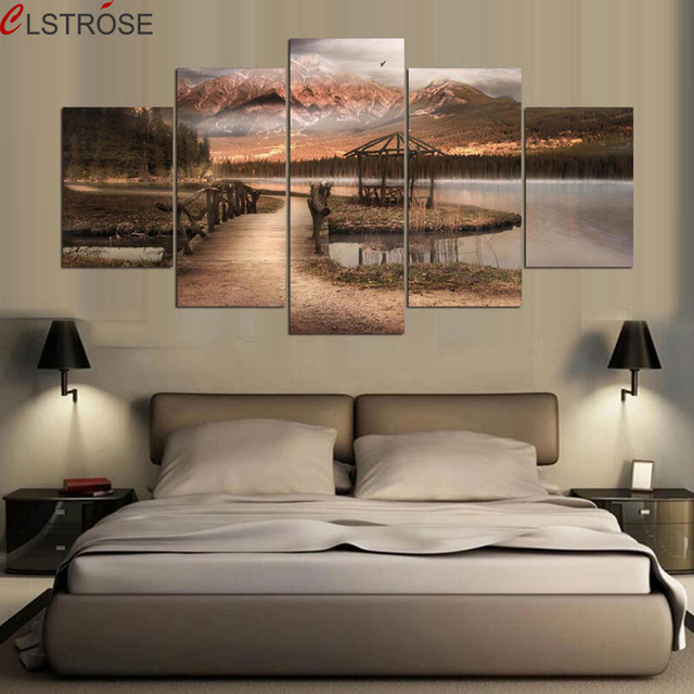 Superior CLSTROSE Modern Home Wall Art Decor Pictures 5 Pieces Mountain Lake Wooden  Bridge Natural Scenery HD