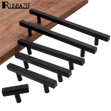 RUNBAZEF Cabinet Pulls Black Modern Square T Bar Diamter Kitchen Bathroom Cupboard Chest Drawer Handles And Knobs Hardware cheap Metalworking Furniture Handle Knob 64mm Black square handle 10mmX10mm aluminium alloy Furniture Handle KnobModel 50mm~256mm
