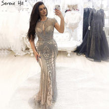 IN STOCK 2019 Luxury Sleeveless full diamond o neck Sexy Evening Dresses Design Beading Evening Gowns Serene Hill LA60742(China)