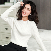 2018 Autumn New Women' O-Neck Sweater Fashion Solid Wild Wool Knitted Pullover Short Winter Shirt Soft Slim Female Sweater