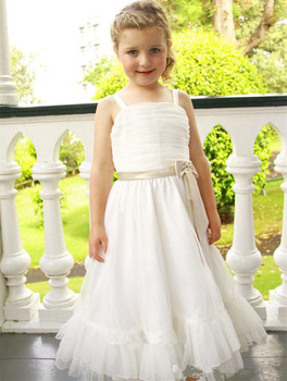 Simple Design New Coming A-Line Flower Girl Dress With Spaghetti Straps Ribbons Square Neck Zipper Back Chiffon Prom Dresses