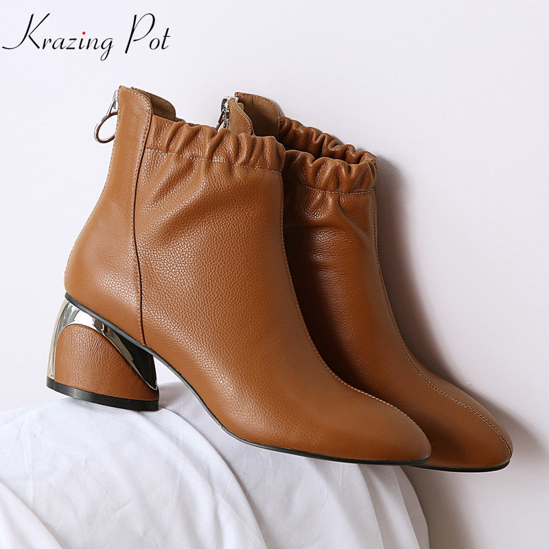Krazing Pot 2019 new genuine leather ruffles decorations thick high heels round toe handsome elastic band solid ankle boots L36Krazing Pot 2019 new genuine leather ruffles decorations thick high heels round toe handsome elastic band solid ankle boots L36
