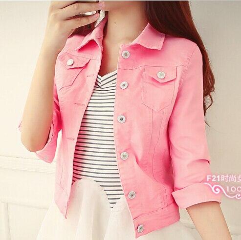 2015 New Design Women Denim Jacket Half Sleeve Turn Down Collar Full