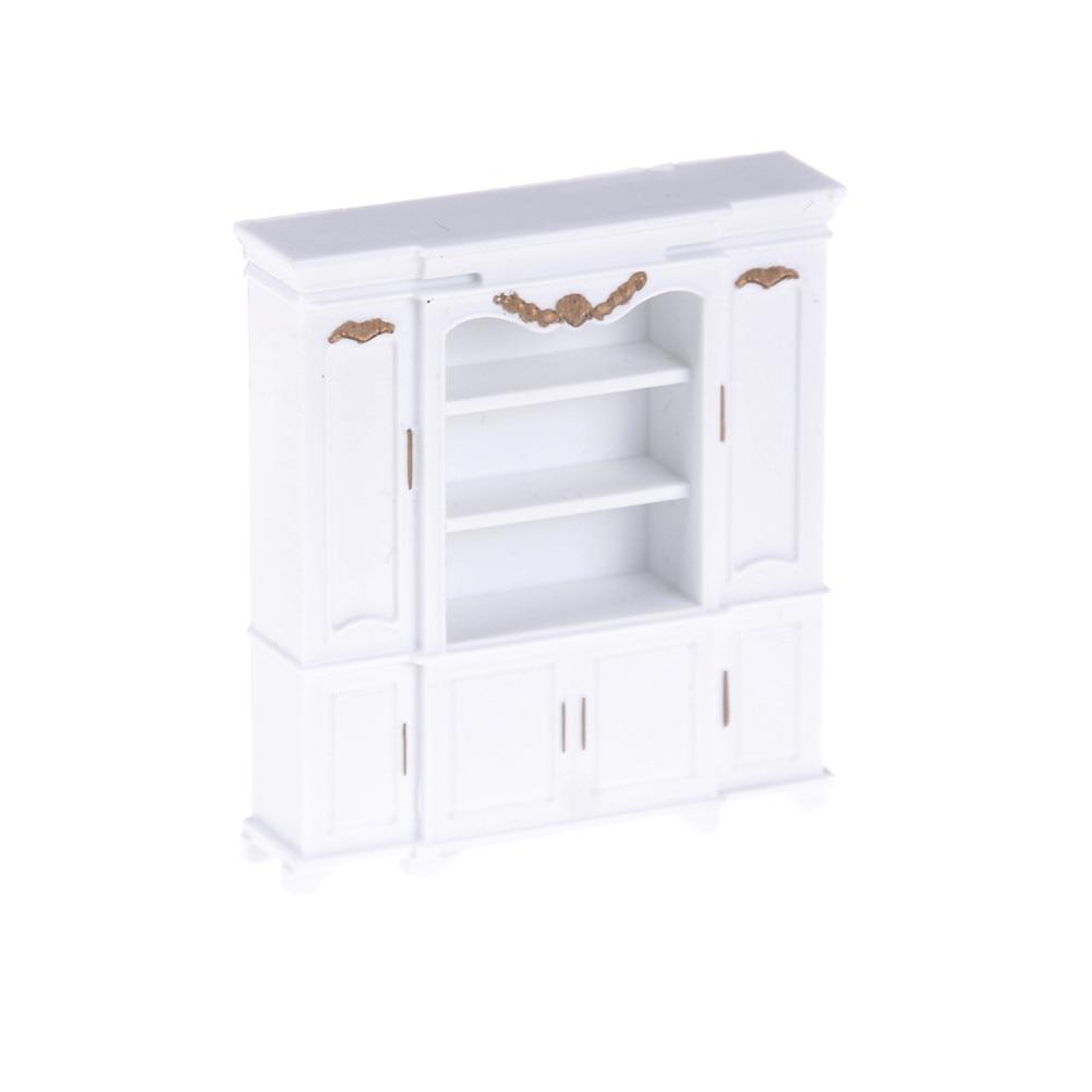 Dollhouse Miniature White Mini Cabinet Model Kitchen Dining Display Shelf Pretend Play House Toys For Kids Children
