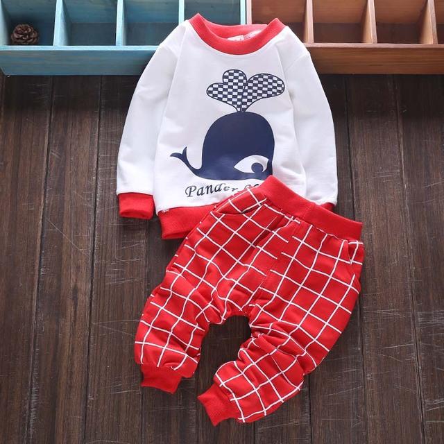 2017 Nueva Primavera Ropa de Bebé Conjuntos Niños Muchachas de Los Niños Se Adapta A Chándales de Algodón Camisa de Manga Larga + Pantalones 2 unids