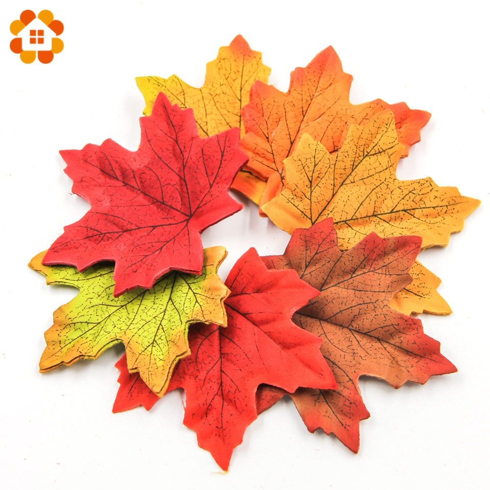 100Pcs 9CM Large Artifical Maple Leaves Fake Autumn Fall Leaf Wedding Party Decoration Craft Art Home Bedroom Wall Book Decor