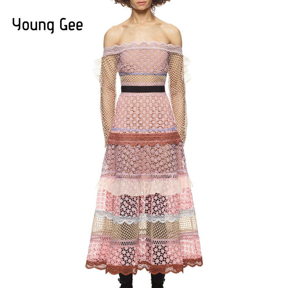Joven Gee 2018 Spring Runway vestido de las mujeres vintage manga ...