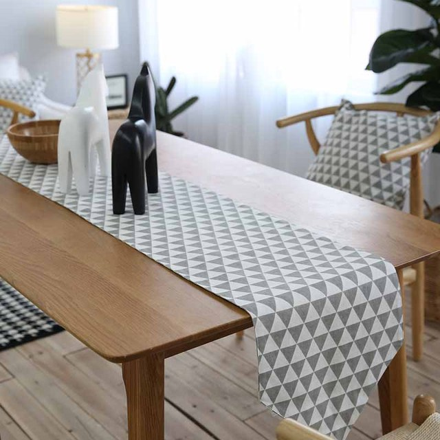Linen Cotton Gray Simple Geometric Nordic Table Runner Hotel Home Living Room Restaurant Dust Proof Runners Christmas