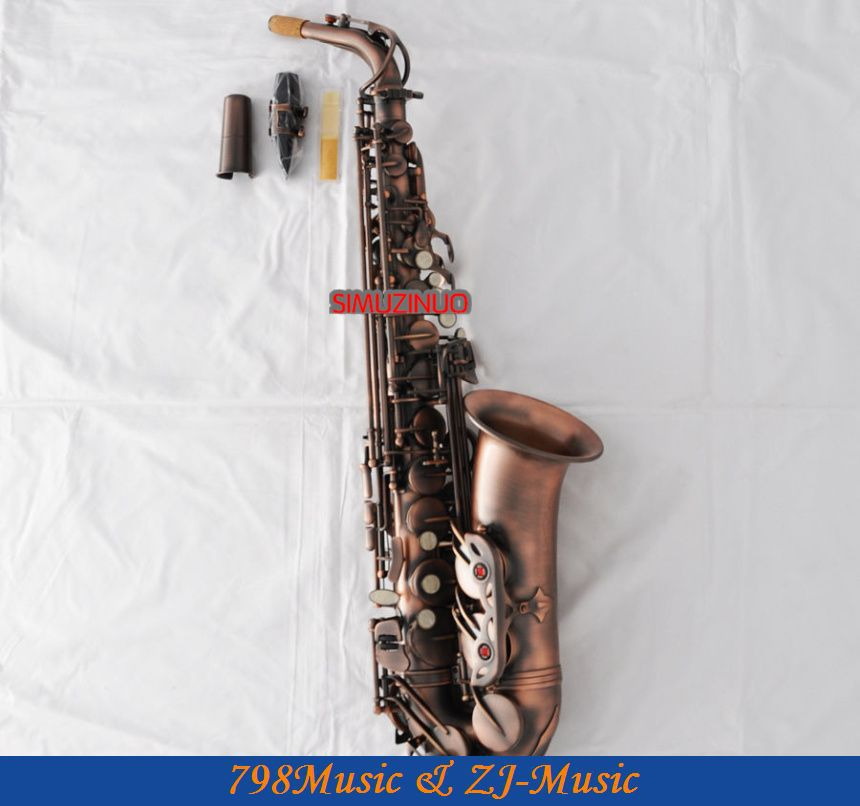 Professional Red Antique 54 Reference Alto Sax Saxophone Abalone Shell High F# ...