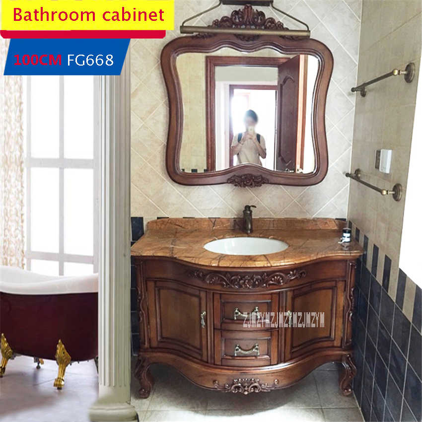100CM FG668 European Style Bathroom Cabinet Combination Solid Wood Bathroom Cabinet High-quality Wash Basin Cabinet Combination