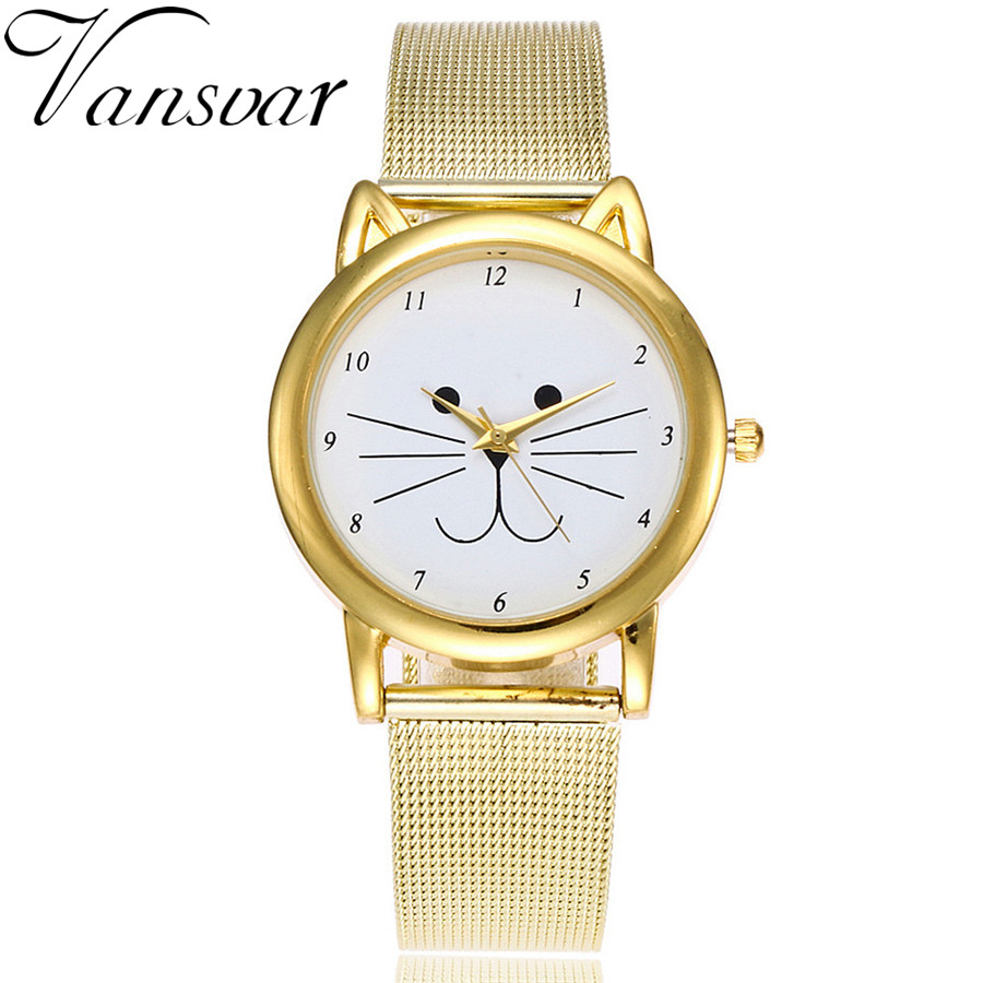 Vansvar Brand Fashion Gold Mesh Band Cat Watch Luxury Casual Quartz Watch Relogio Feminino Gift Clock Drop Shipping vansvar brand fashion casual relogio feminino vintage leather women quartz wrist watch gift clock drop shipping 1903