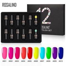 ROSALIND Neon lakier do paznokci polski zestaw lakierów hybrydowych 12 sztuk/partia UV LED Manicure Semi permanentny lakier do paznokci Top baza do zestawu do paznokci