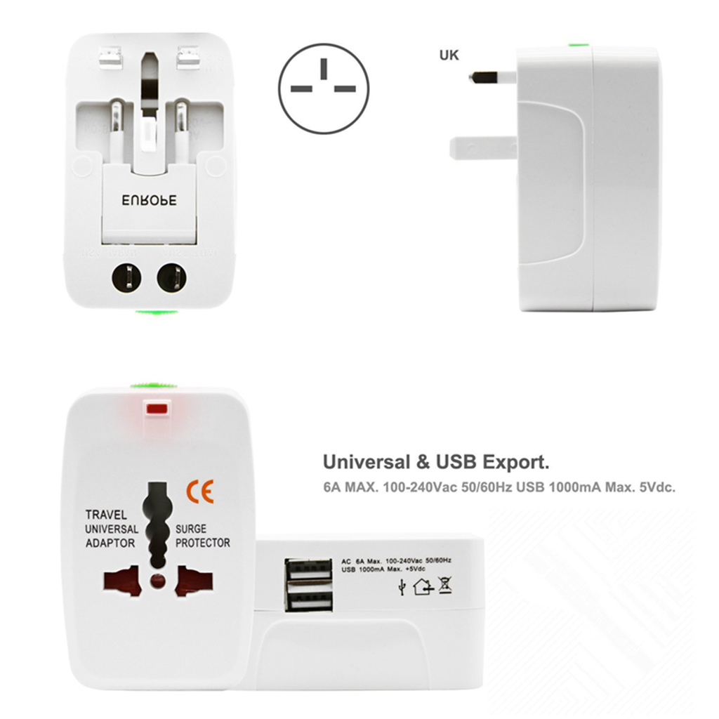 Image 4 - All in One Universal International Plug Adapter 2 USB Port World Travel AC Power Charger Adapter AU US UK EU Converter-in International Plug Adaptor from Consumer Electronics