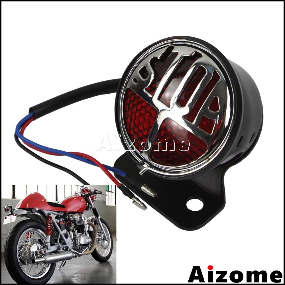 Motorcycle LED inchSTOPinch Miller Tail Light Number Plate Rear Lamp Brake Stop Light For Harley Triumph Custom Bobber Cafe Racer