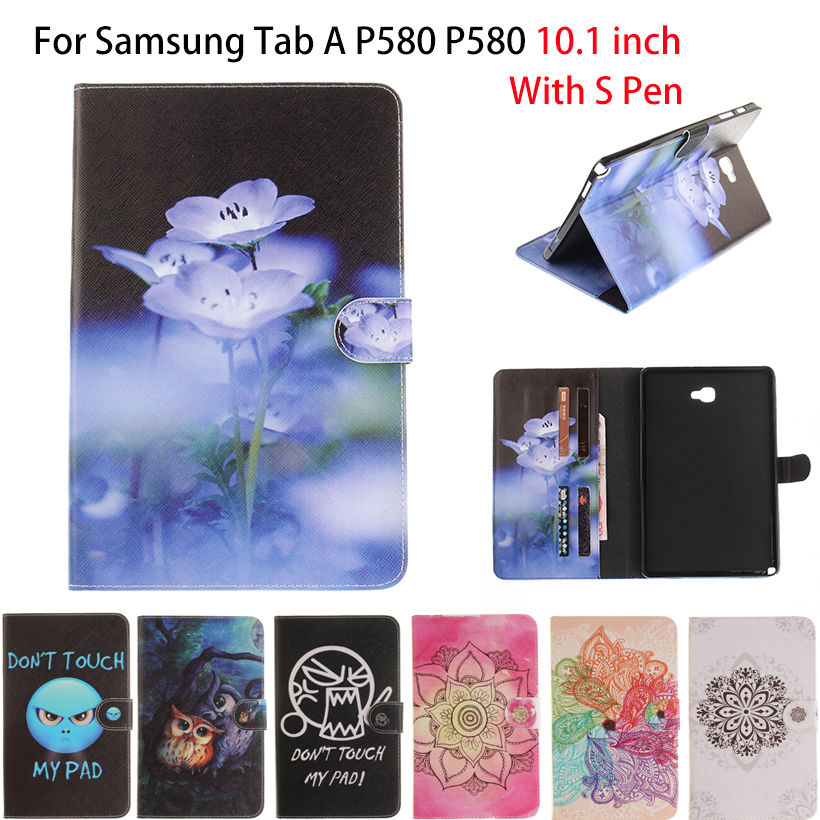 New Colored drawing Tab A P580 Case PU Leather Funda Folio Stand Cover For Samsung Galaxy Tab A A6 10.1 P580 P585 Tablet Shell case cover for samsung galaxy tab a a6 10 1 p580 p585 10 1 inch tablet funda 360 degree rotating flip leather stand shell case